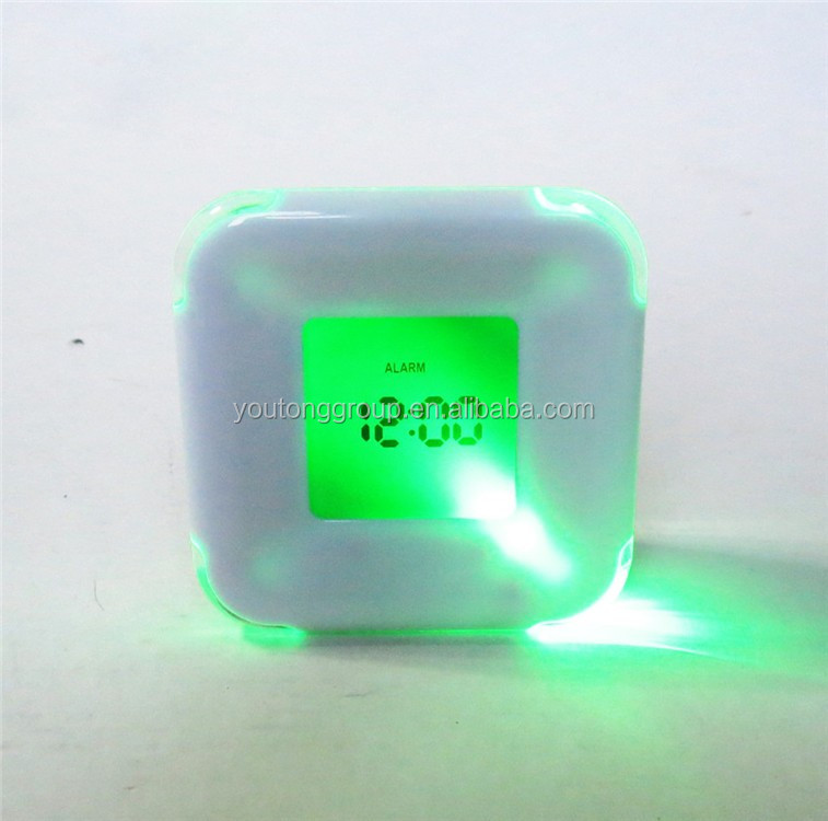 Multi Color Square Mini Lcd Table Desk Clock With Calendar