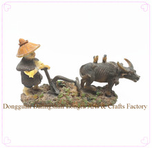 Polyresin Souvenir Chinese Farmer with water buffalo Figurine for Home Decoration