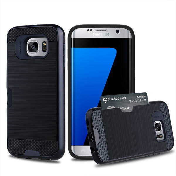 C&T Card Slot Dual Layer Hybrid Armor Rugged Hard Brushed Metal Texture Wallet Case for Samsung Galaxy S7 Edge