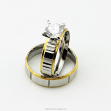 Fine Quality Vintage Silver 18k Gold Big Lovers Zirconia Engagement Rings with Stainless Steel