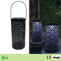 Led metal lantern rechargeable solar light for garden decorative