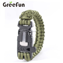 4 in 1 Military 550 Paracord Survival Bracelet , 300 Colors Parachute Cord Bracelets With Fire Starter , Flint , Whistle , Kinfe