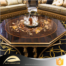 AT43-round antique hand carved coffee table/round coffee table wood/round gold coffee table