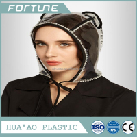 Adorable crystal clear rain hat pvc making raw material
