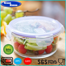Round Shape Strong Borosilicate Glass Cookware Lunch Box With PP Lid
