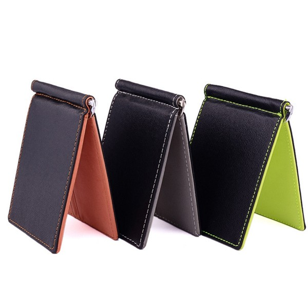 2017 Hot Sale Fashion New Men Money Clips dollar wallet PU Leather 2 folded Open Clamp For Money