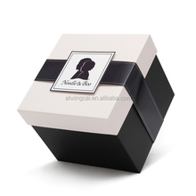 luxury design paper cardboard gift box clear lid with logo printed
