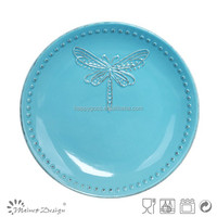 dragonfly design ceramic decorate ceramic dinner plate