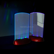 Plastic Acrylic Led Light Flashing Table Tent Card Holder ,Flashing shining Display Holder For Wine Bar Party