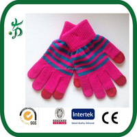 Ladies Knitted Gloves Touch Screen stripe Gloves Texting Capacitive Smartphone