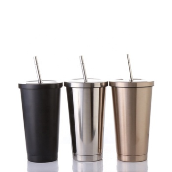 Outdoors Stainless Steel Cola Drink Cup 500ml Straws Vacuum Personalized Travel Coffee Mugs