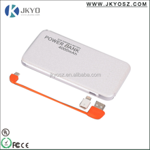 Unique design universal <strong>portable</strong> built in cable power bank 4000mah
