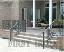 Outdoor antique wrought iron stair grills railings, ornamental iron railing