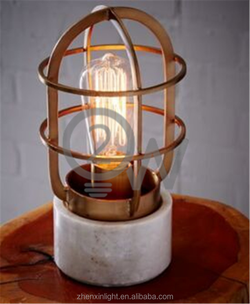 Modern lighting facotry wholesale vintage black metal cage natural marble table lamp