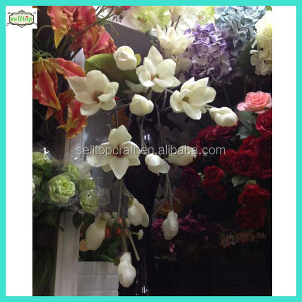 75cm hot sale 3heads real touch pu artificial magnolia flower