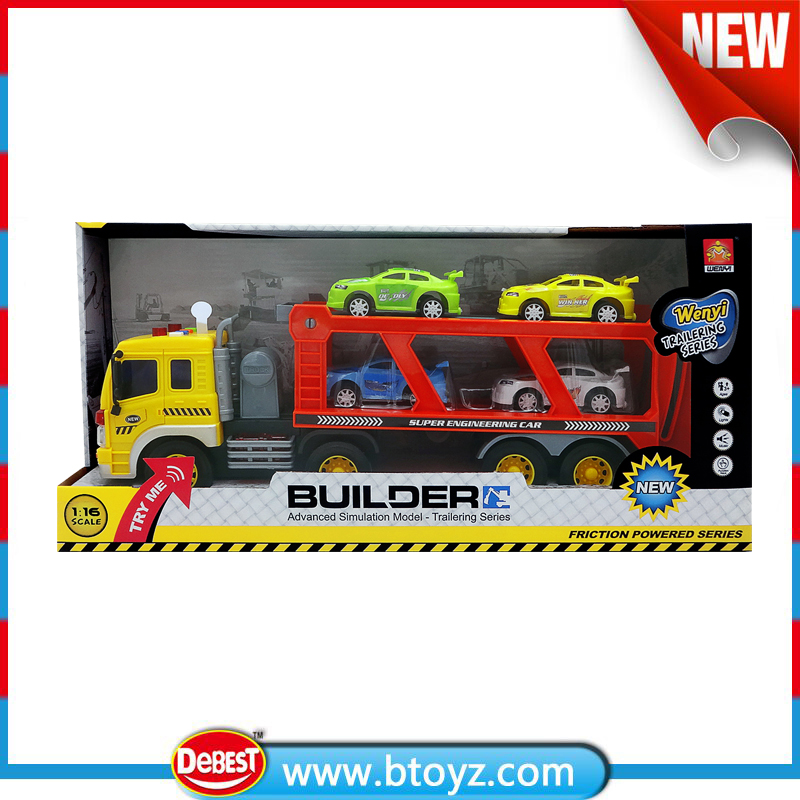 1:16 super engineering car truck toys with 4 plastic cars