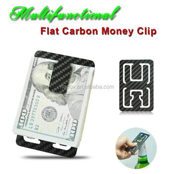 2016 slim flat carbon fiber money clip credit card holder wallet bottle opener view credit card. Black Bedroom Furniture Sets. Home Design Ideas