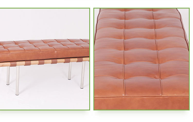 Wholesale Leather Custom Barcelona Waiting Chairs Bacelona Bench 2 Seater Chair