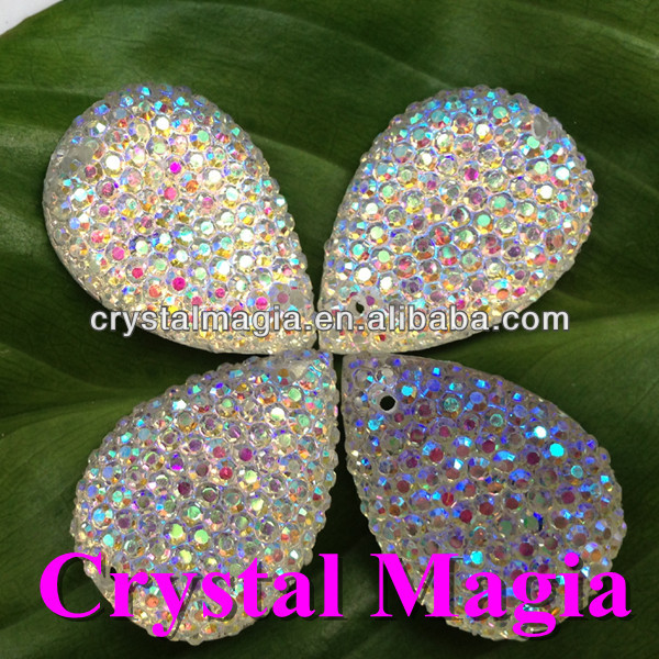 tear drop crystal ab flat back sew on resin rhinestones