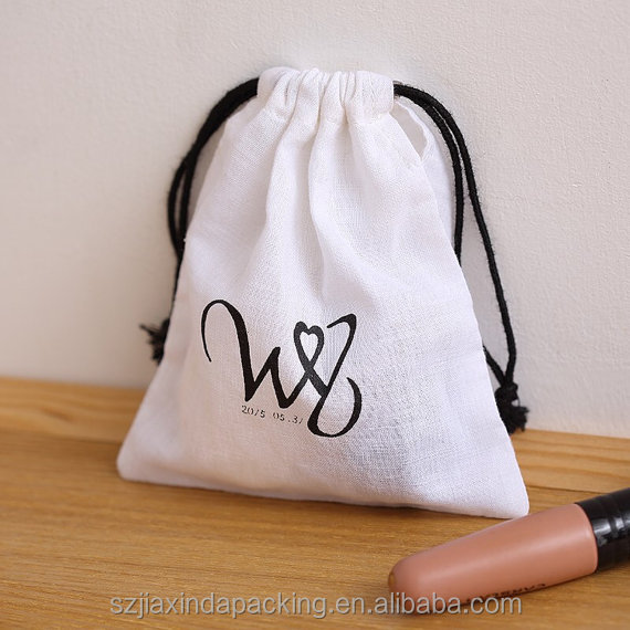 White Cotton Drawstring Bag, Printed Cotton Drawstring Bag