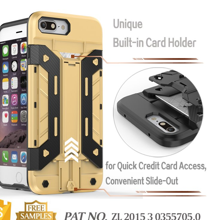 Kickstand credit card holder phone cover for iphone 7 plus cover