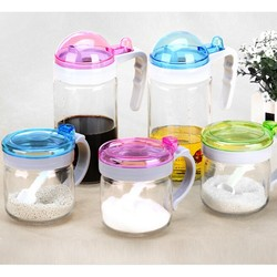 Supply fashion glass salt&shaker set with colorful lid