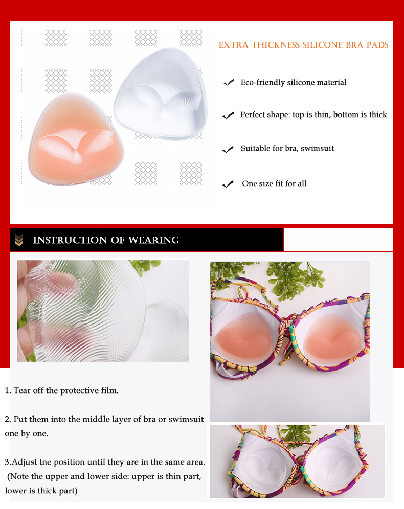 Factory price sport bra pad, silicone bra pad for swimsuit
