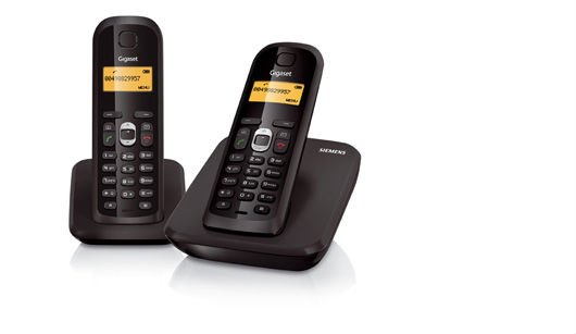DECT Duo Phone with 220h standby time and 20h talking time GIGASET AS200A DUO Black color