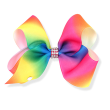 Rainbow Color Boutique Big Wholesale Girls Hair Bows With Alligator Clips