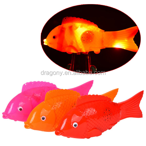 plastic led moving flashing light music fish toy
