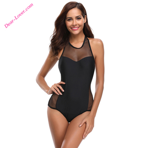 2108 Online Wholesale Black Fishnet Mesh Monokini Women One-Piece Swimwear