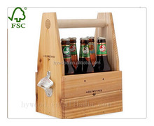 lacquer varnishing vintage portable wooden beer carrier with metal deco, wooden beer crates box for six bottle pack