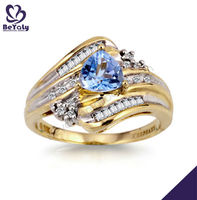 Dashing gold plated blue cz jewelry animal fox rings