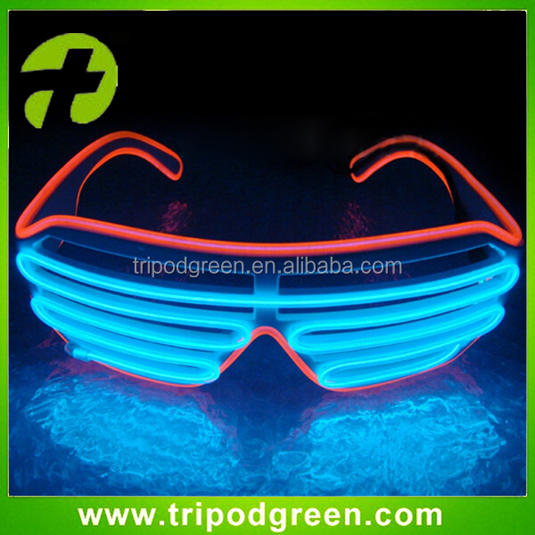 Factory Manufacter EL Wire Glasses Flashing LED Shutter Party Glasses