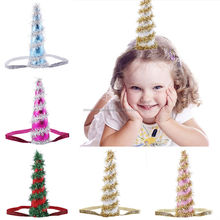 Kids Girls Tinsel Christmas Tree Hat Headband Headgear Party Decor 5 Colors