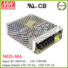Meanwell dual voltage 12v 5v power supply NED-50A
