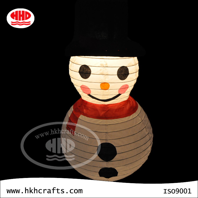 Snowman christmas light hanging paper lantern decorative