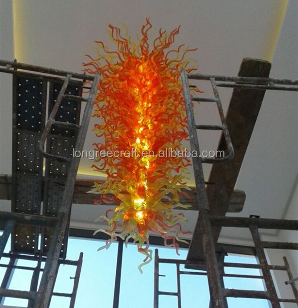Modern Large Handmade LED Blown Murano Glass Chihuly Style Chandelier Lighting for Hotel