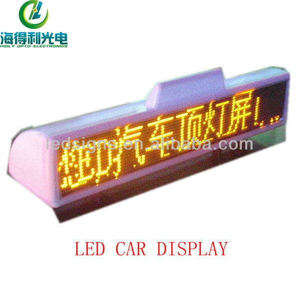 Hidly wholesale P6 16x128 DC12V yellow car led moving message sign