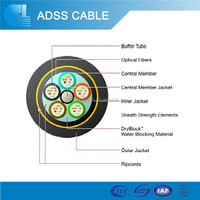 China non-metalic loose tube outdoor ADSS fiber optical cable
