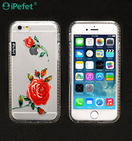 Crystal TPU Cover with flower,Ultra Slim Tpu Case for iphone 6/6s