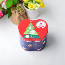 Merry Christmas Design Red Theme Apple Shape Tin Box