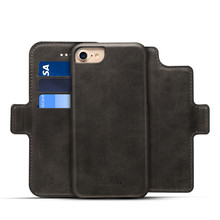 Two Mobile Phones Leather Case for iPhone 7 , Detachable Wallet Leather Phone Case for iPhone 8 Plus