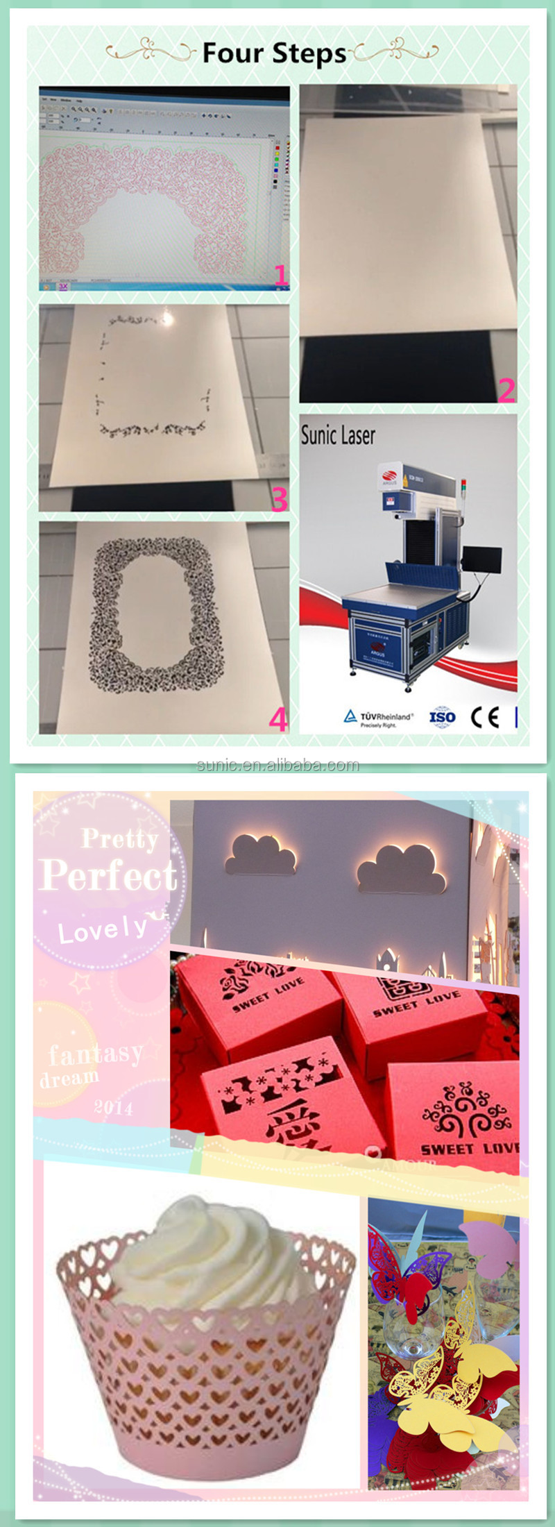 Popular best sell wedding invitation greeting cards co2 laser cutting paper