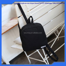 Pure Color Black Backpack Cheap Wholesale Plain canvas Rucksack Double Shoulder Backpack