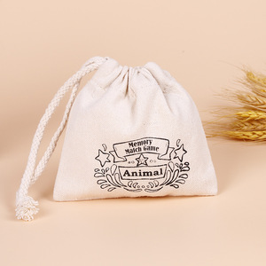 Custom calico drawstring small cotton bag