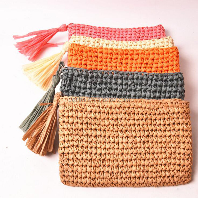 DEMIZXX352 Wholesale Custom Alibaba China Handmade Vintage Purse Crochet Cheap Ladies Paper Straw Tote Straw Handbags
