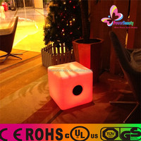 2015 Promotional cheap Manufacturer waterproof wireless Cube Bluetooth Speakers with LED Lights remote
