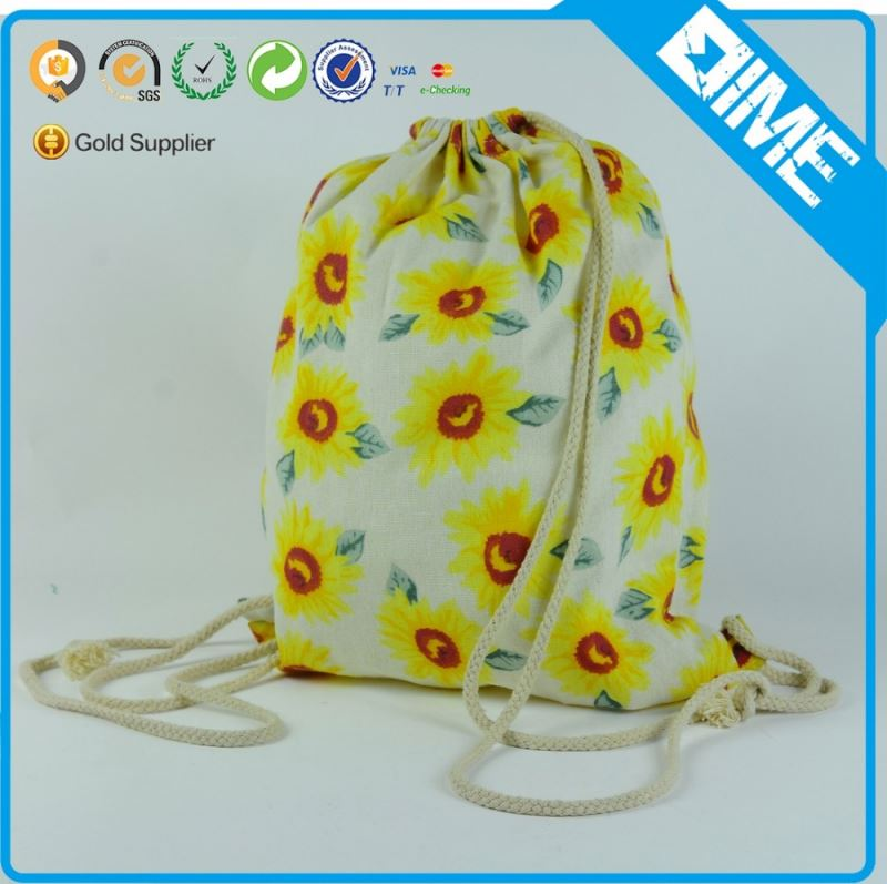 Wholesale Eco Friendly Printed Canvas Calico Bag With Drawstring