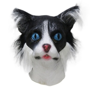 Adult Furry Face Black White Kitten Animal Head Cat Mask With Fur